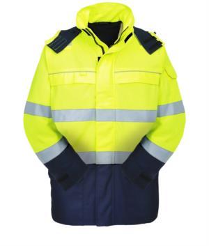 Warnschutz Multipro Jacke, zweifarbig, verdeckte Kapuze, zwei Brusttaschen und zwei Huefttaschen, Doppelband an Taille und Aermeln, gelb/blau, zertifiziert nach EN 343:2008, UNI EN 20471:2013, EN 11611, EN 1149-5, EN 13034, CEI EN 61482-1-2:2008, EN 11612:2009