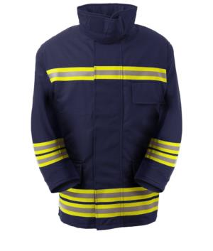 Feuerfeste Jacke, Funktasche, Frontreissverschluss, Strickbuendchen, Kragen passend zum Helm, marineblau. EN 469 zertifiziert