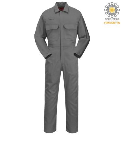 Feuerfester Anzug, Radioring, Knopfleiste, Brusttaschen, Masstasche, verstellbare Manschetten, grau Farbe. CE zertifiziert, NFPA 2112, EN 11611, EN 11612:2009, ASTM F1959-F1959M-12