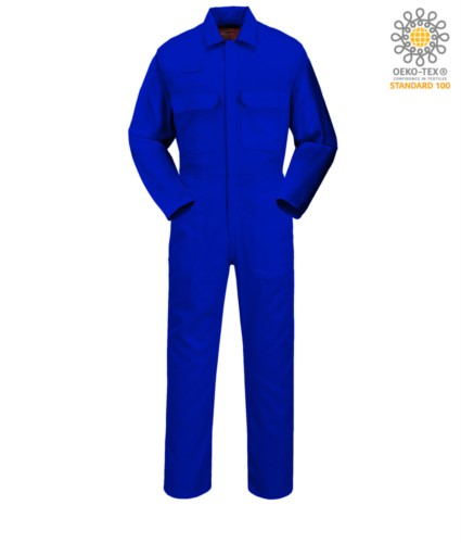 Feuerfester Anzug, Radioring, Knopfleiste, Brusttaschen, Masstasche, verstellbare Manschetten, koenigsblau Farbe. CE zertifiziert, NFPA 2112, EN 11611, EN 11612:2009, ASTM F1959-F1959M-12
