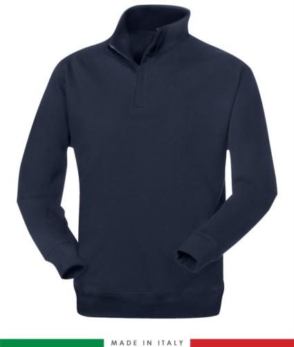 Feuerhemmendes und antistatisches kurzes Reißverschluss-Fleece mit elastischen Ärmeln und Handgelenk, Farbe marineblau, zertifiziert nach EN 1149-5, EN 11612:2009