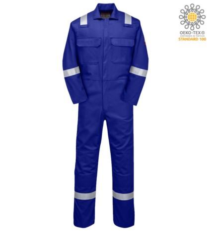 Feuerfester Overall, Funkring, Knopfverschluss, Brusttaschen, Bandmasstasche,koenigsblau Farbe. CE zertifiziert, NFPA 2112, EN 11611, EN 11612:2009, ASTM F1959-F1959M-12