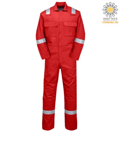 Nomex-Overall, elastische Manschetten, elastische Taille, zwei Gesaesstaschen, eine Gesaesstasche, Farbe marineblau. Zertifiziert nach EN 11611, EN 1149-5, EN 11612:2009, UNI EN ISO 340:2004, EN 15614
