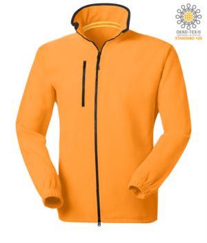 Langer Reissverschluss Fleece mit Brusttasche und zwei Taschen. Doppelter Reissverschluss mit Schiebeverschluss. Farbe: orange