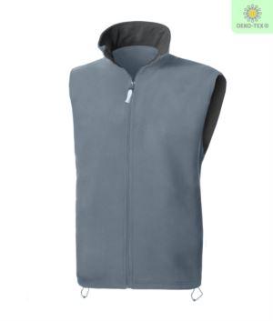 Fleeceweste mit langem Reißverschluss, zwei Taschen, Farbe grau