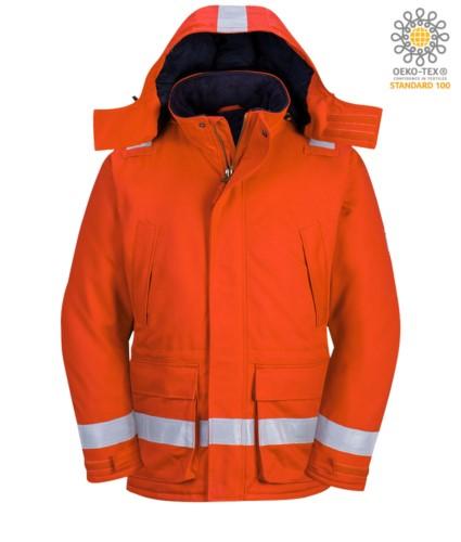Flammwidrige, antistatische Winterjacke, zwei Fronttaschen, Reissverschluss und Knopfverschluss, verstellbare Aermeloeffnung, abnehmbare Kapuze, zertifiziert nach EN 11611, EN 342:2004, EN 1149-5, EN 11612:2009, Farbe orange