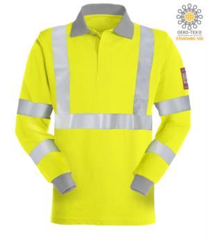 Langarm Poloshirt, gut sichtbar antistatisch flammhemmend, verdeckter Knopfverschluss, Reflexband an Brust und zwei Ärmeln, zweifarbig, zertifiziert nach EN 20471, EN 1149-5, CEI EN 61482-1-2:2008, EN 11612:2009, Farbe gelbe