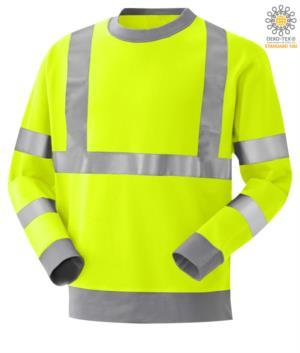 Feuerhemmendes, gut sichtbares, antistatisches Sweatshirt, Rundhalsausschnitt, Reflexband an Taille und Schultern, Doppelband an den Aermeln, zweifarbig, bezogen auf EN 20471, EN 1149-5, CEI EN 61482-1-2:2008, EN 11612:2009, Farbe gelb