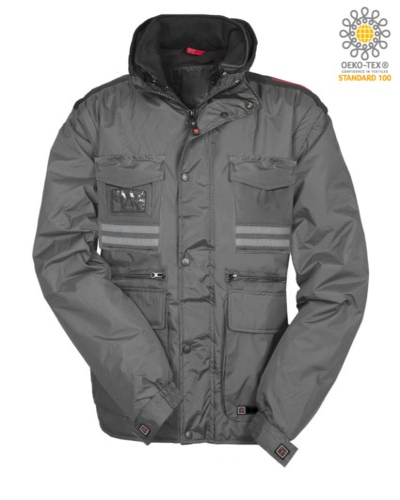 Damen Ripstop Polsterjacke, Multi Tasche mit abnehmbaren Ärmeln und Kapuze. Eine Badge Tasche, Reflexstreifen an Taschen und Rücken. Farbe: Grau