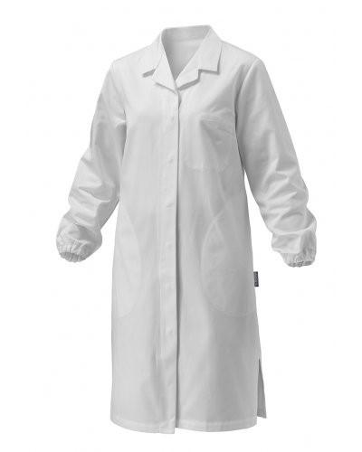 Damenmantel, Langarm, Knopfverschluss, aufgesetzte Tasche, zwei Seitentaschen, elastische Buendchen, weiss, CE-zertifiziert, Farbe: Weiss