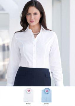 Elegantes, halbfestes Damenhemd, 3-Knopf-Manschette, 100% Baumwolle. Leichtes Buegeleisengewebe. Ideal fuer Empfangspersonal, Hostessen, Hoteliers.