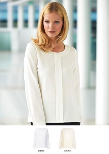 Polyester- und Elastanhemd, mit Reissverschluss hinten, erhaeltlich in Weiß und Creme. Ideal fuer Empfangspersonal, Hostessen, Hoteliers.