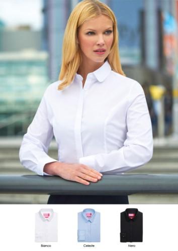 Elegantes Damenhemd, Polyestergewebe, Baumwolle und Elasthan, halbfestes Modell. Ideal für Empfangspersonal, Hostessen, Hoteliers.