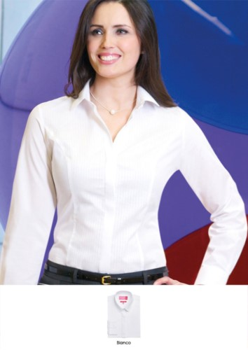 Polyester-, Baumwoll- und Elastanhemd aus leichtem Eisengewebe. Ideal fuer Empfangspersonal, Hostessen, Hoteliers. Fordern Sie ein kostenloses Angebot an