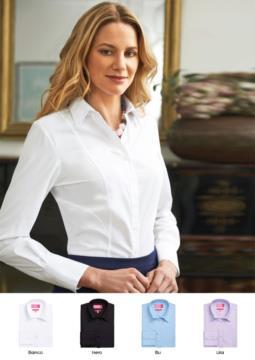 Damen-Polyester- und Baumwollhemd mit leichtem Buegelgewebe. Ideal fuer elegante Arbeitskleidung, fuer Empfangsdamen, Hostessen, Hoteliers.