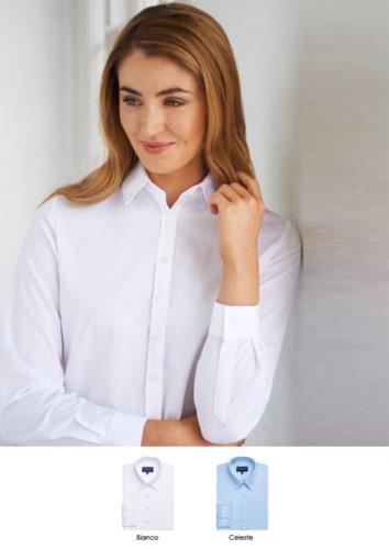 Elegantes Hemd fuer Frauen, Polyester und Baumwolle, aus leichtem Eisengewebe und leichter Passform. Ideal fuer Empfangspersonal, Hostessen, Hoteliers