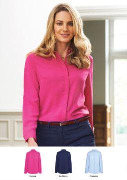 Elegantes Hemd 100% Polyester mit abgedeckten Knoepfen.  Ideal fuer Empfangspersonal, Hostessen, Hoteliers. Fordern Sie ein kostenloses Angebot an.