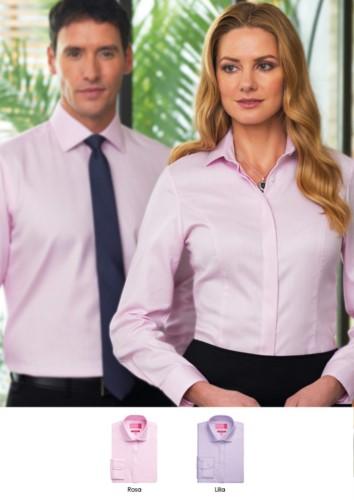Hemd 100% Baumwolle mit Knopfkragen. Erhaeltlich in pink und lila. Grosshandel. Fordern Sie ein kostenloses Angebot an