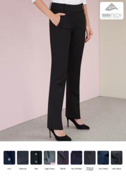 Elegante Damenhose mit schmutzabweisender Ausruestung. Polyestergewebe, Wolle und Lycra.  Ideal fuer Empfangspersonal, Hostessen, Hoteliers. Grosshandel.