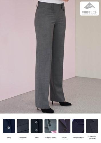 Elegante Damenweichhose aus schmutzabweisendem Gewebe, Polyester und Wolle. Ideal fuer Empfangspersonal, Hostessen, Hoteliers. Grosshandel.