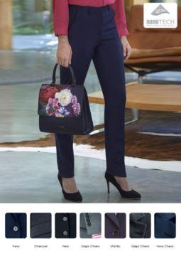Elegante Hose fuer Frauen, schlankes Modell, Polyestergewebe und Wolle, mit schmutzabweisender Behandlung. Ideal fuer Empfangspersonal, Hostessen, Hoteliers.