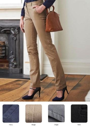 Elegante, schmal geschnittene Hose aus Baumwolle und Elasthan. Verschiedene Farben erhaeltlich. Ideal fuer Empfangspersonal, Hostessen, Hoteliers. Grosshandel.