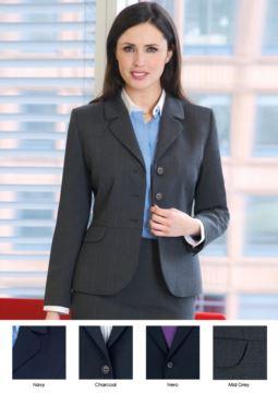 Elegant geschnittene Damenjacke aus Polyester und Wolle.