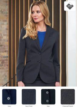Elegant geschnittene Damenjacke aus Polyester und Viskose. Gewebe mit Anti-Fleckenbehandlung.