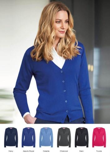 Damen V-Ausschnitt Strickjacke, lange Aermel, Rippen, Saum und Aermelbuendchen, Baumwolle und Acrylgewebe