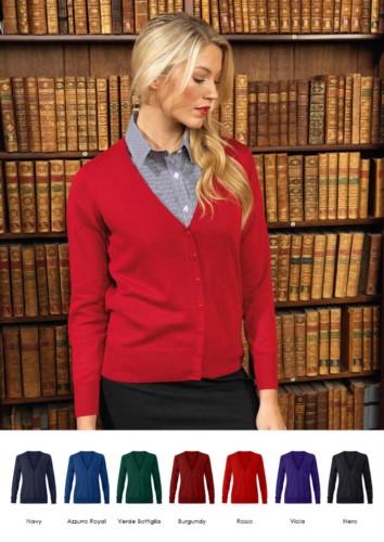 Damen-V-Ausschnitt-Strickjacke mit geripptem Hals und Ärmeln, zentrale Oeffnung, Baumwolle und Acrylgewebe.