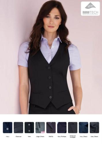 Damenweste aus Wolle und Polyester und schmutzabweisendes Gewebe. Grosshandel mit eleganten Uniformen.