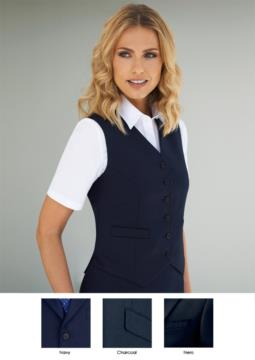 Damenweste mit sechs Knopfverschluessen und zwei Seitentaschen. Grosshandel mit eleganten Uniformen.