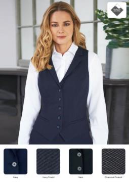 Damenweste mit vier Knopfverschluessen und zwei schraegen Taschen. Teflon-Fleckenschutzgewebe