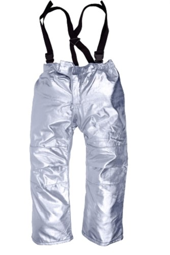 Gefuetterte Anflughose, Hitzeschutz, verstellbare Hosentraeger, zertifiziert nach EN 11612:2009, Farbe Silber