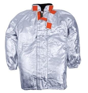 Gefuetterte Jacke, Raglanaermel, elastische Manschetten, Klettverschluss, silberfarben, zertifiziert nach EN 11612:2009