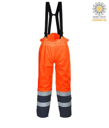Antistatische, gut sichtbare, feuerfeste Hose, verstellbare Schultergurte mit Schnalle, Doppelband an der Unterseite des Beines, zweifarbig, zertifiziert nach EN 343:2008, UNI EN 20471:2013, EN 1149-5, EN 13034, UNI EN ISO 14116:2008, Farbe orange
