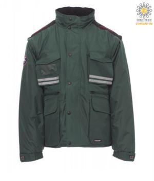 Gepolsterte Ripstop Jacke, Multi-Tasche mit abnehmbaren Aermeln und Kapuze. Eine Badge Tasche, Reflexstreifen an Taschen und Ruecken.Farbe: Gruene
