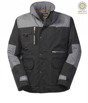 Gepolsterte Multi Pocket Jacke aus Ripstop zweifarbig, abnehmbare Kapuze, Handytasche.  Farbe: Schwarze und graue