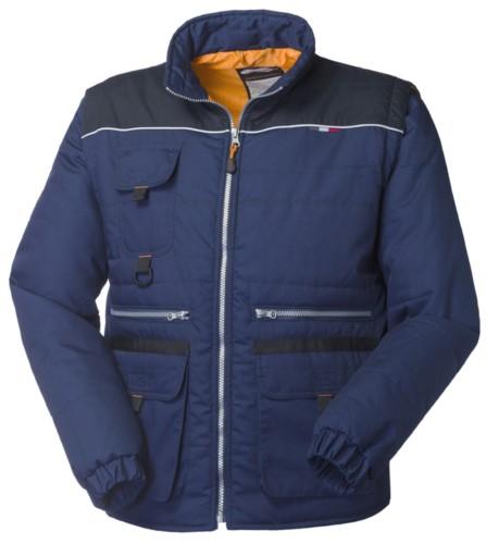 Gepolsterte Multi Pocket Jacke mit Reissverschluss, reflektierender Mausschwanz mit abnehmbaren Aermeln. Farbe Blau und Schwazr