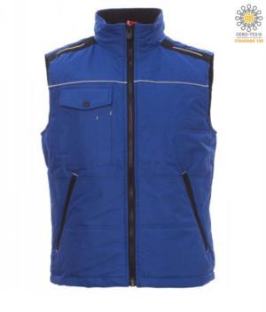 koenigsblaue Fleece Kragen mit gepolstertem Kragen und mehreren Taschen fuer Arbeitsweste
