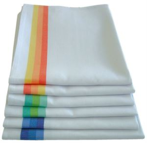 Geschirrtuch aus Baumwolle, Groesse 50x70 cm, in den Farben weiss-orange, weiss blau, weiss-gruen.