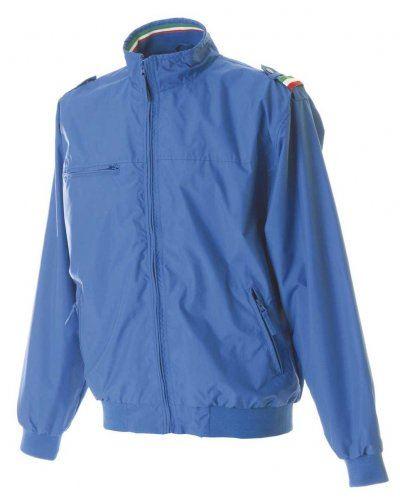 Nylon Taslonjacke mit dreifarbigem Profil, eine Brusttasche mit Reissverschluss, zwei Aussentaschen mit Reissverschluss, eine Innentasche, elastische Strickbuendchen an Aermeln und Buendchen, Farbe koenigsblau