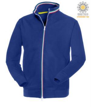 Herren Langreissverschluss Arbeit Sweatshirt Koenigsblau Farbe