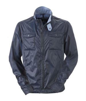 Herren Sommerjacke aus wasserabweisendem Nylon; Jeans Kragen, Manschetten und Bund. Farbe: Marineblau