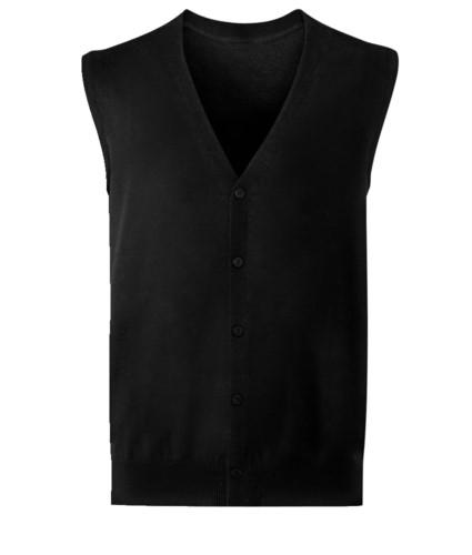 Unisex V-Ausschnitt-Strickjacke, klassischer Schnitt, Baumwolle und Acrylgewebe. Großhandel mit eleganten Arbeitsuniformen. schwarz farbe