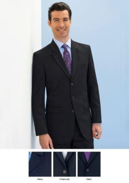Elegante Herrenjacke fuer elegante Arbeitsuniform. Polyester und Wollgewebe, knitterfrei. 3Knopf-Verschluss. Zwei Seitentaschen. Fordern Sie ein kostenloses Angebot an.