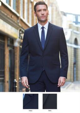 Herrenjacke fuer elegante Arbeitsuniform, mit einem Knopfverschluss. Polyester- und Viskosegewebe mit schmutzabweisender Ausruestung. Fordern Sie ein kostenloses Angebot an