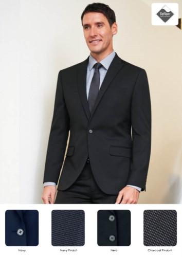 Herrenjacke aus Polyester und Viskose mit 2-Knopf-Verschluss. Ideal für Portier-, Hotel- und Rezeptionistenuniformen. Fordern Sie ein kostenloses Angebot an.