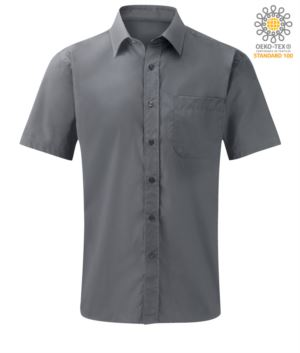 Herren Kurzarmhemd aus Polyester und Baumwolle silberfarben