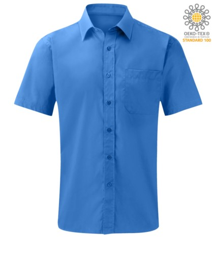 Herren Kurzarmhemd aus Polyester und Baumwolle Himmelblau